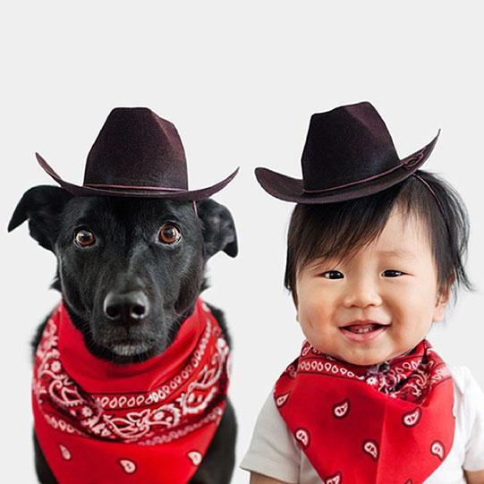 мальчик и собака ковбои