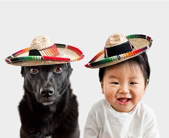 мальчик и собака в сомбреро