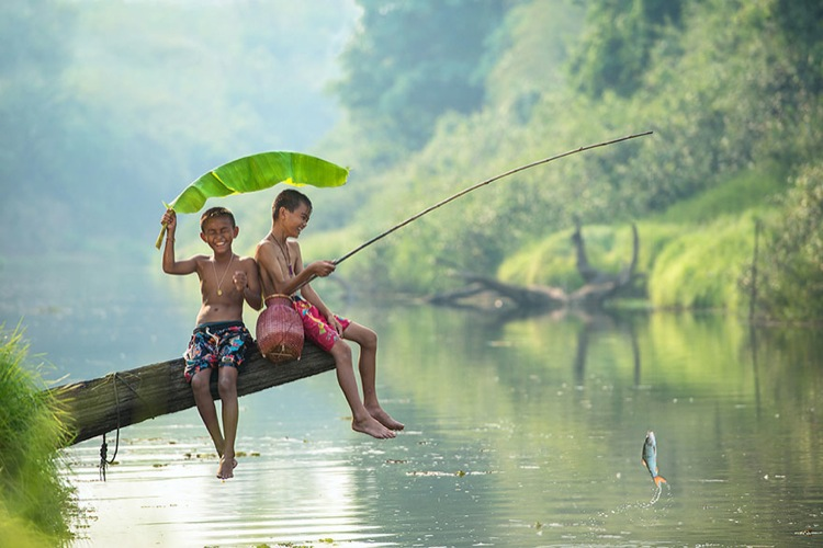 мальчики ловят рыбу