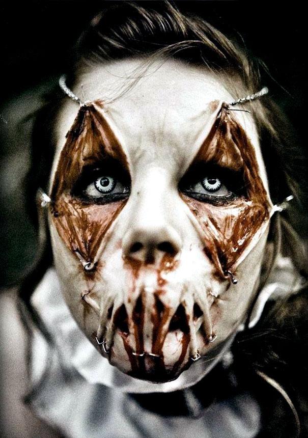 страшный макияж на хэллоуин фото
