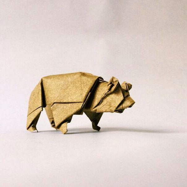оригами медведь