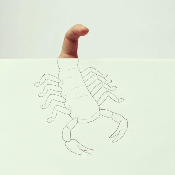 рисунок скорпиона карандашом