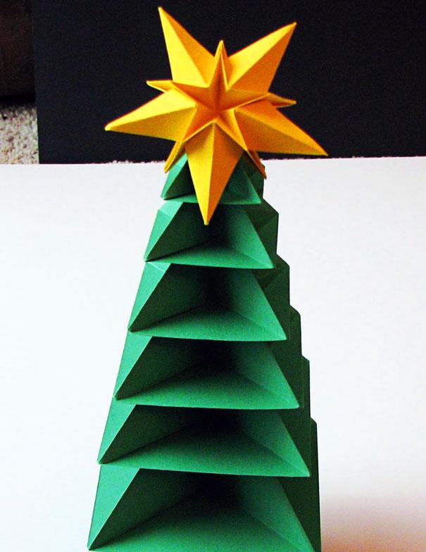 новогодняя ёлка оригами