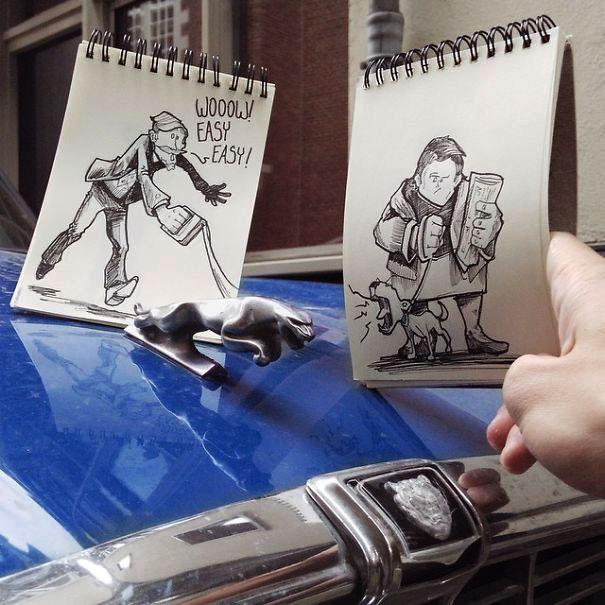 рисунки чёрной гелевой ручкой