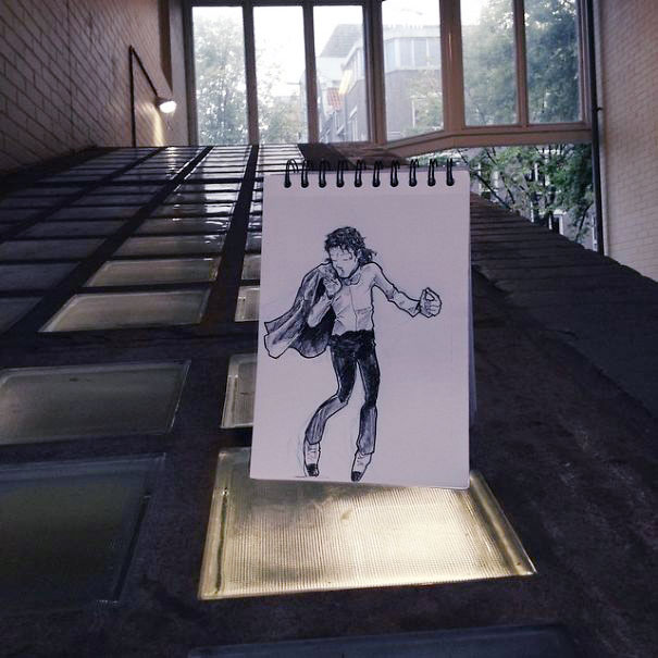 рисунок человека чёрно-белый