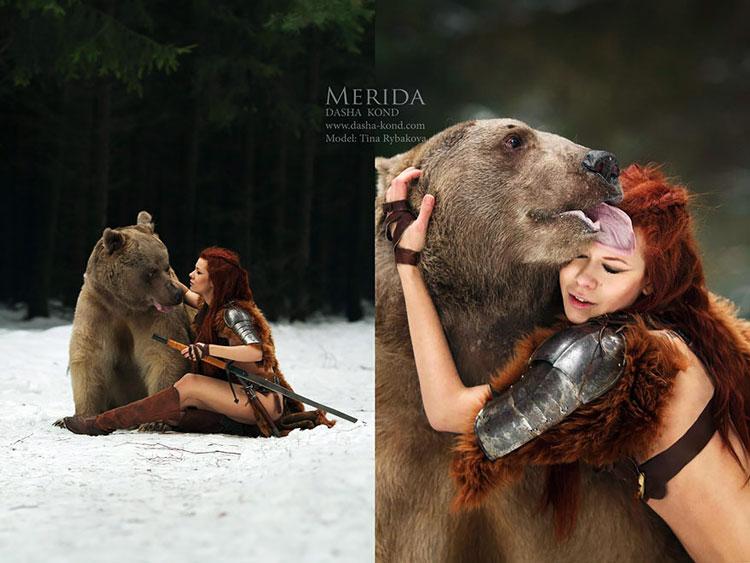фото девушка и медведь