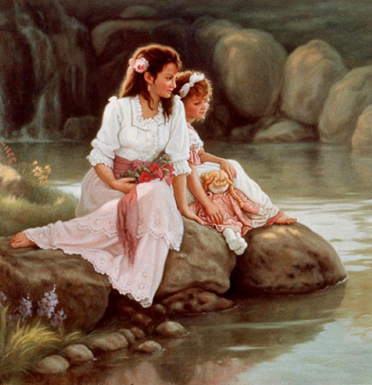 мама с дочкой картина