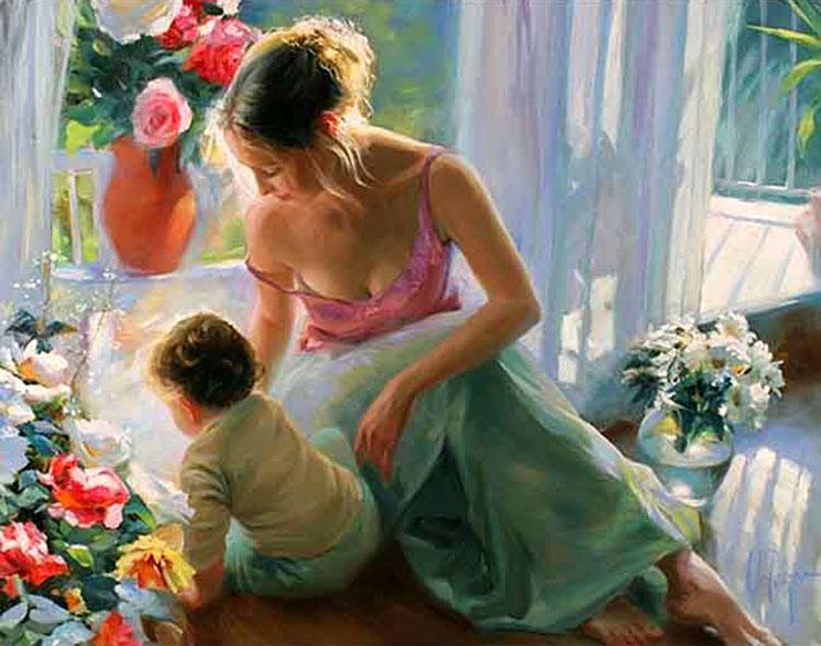 мама с ребёнком картина
