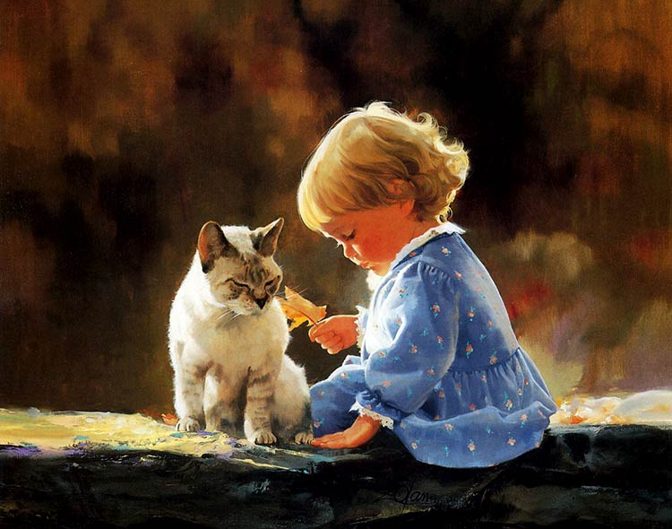 дети и животные картины