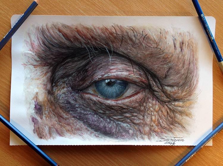 глаза цветными карандашами