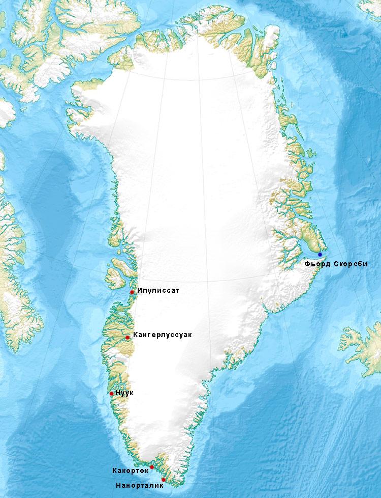 карта гренландии на русском языке
