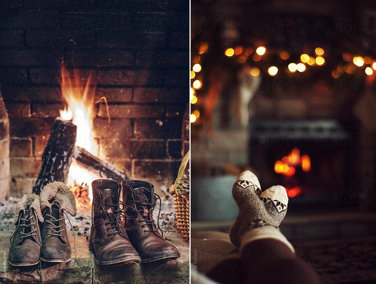зима камин уют картинки