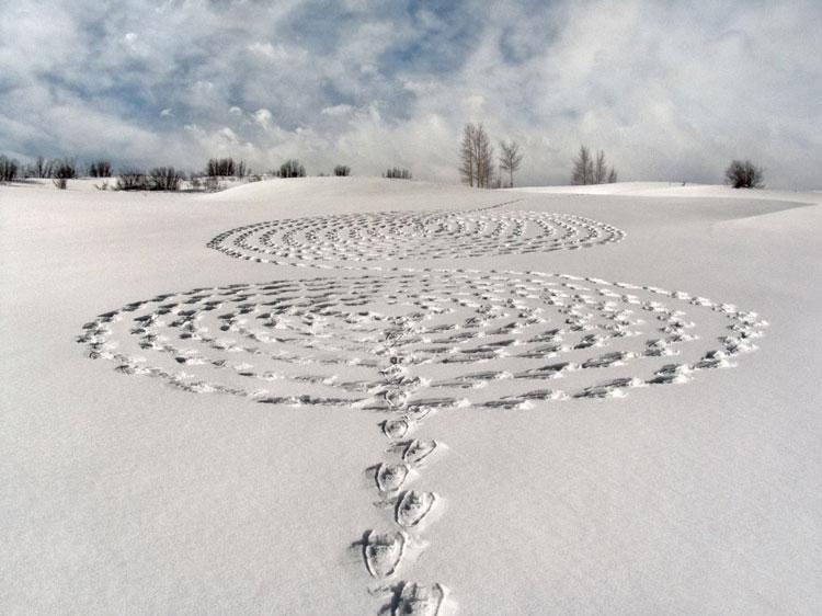 рисунки на снегу зимнее искусство