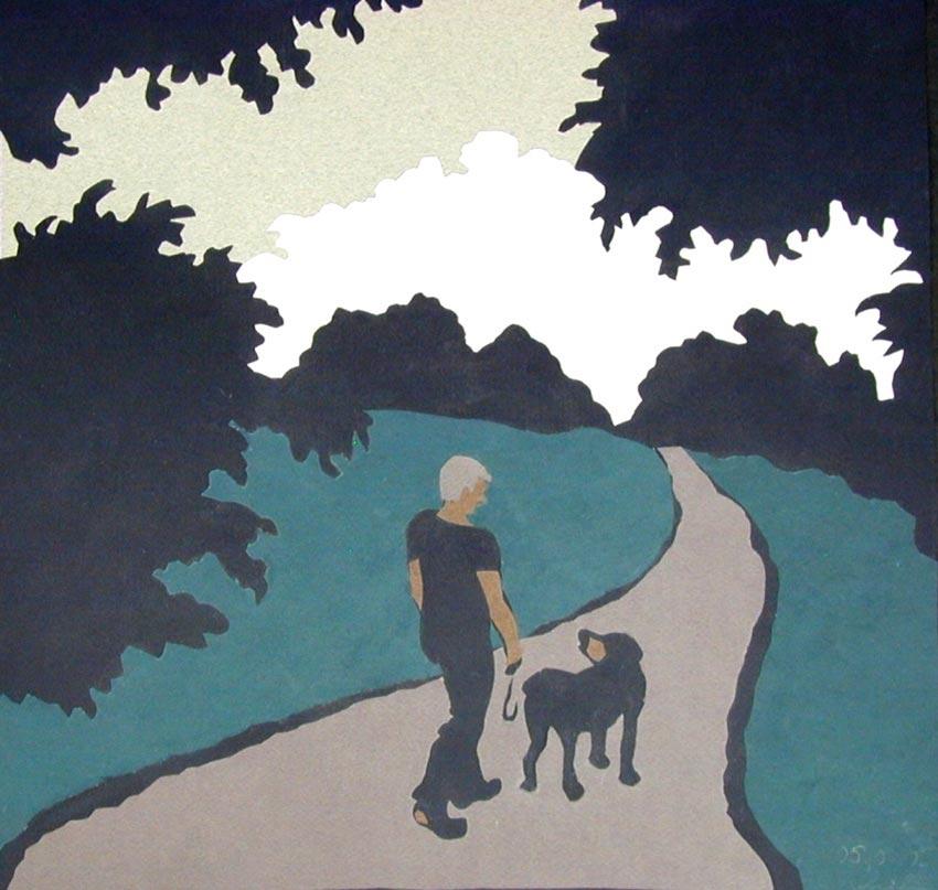 аппликация человек собака деревья из цветной бумаги