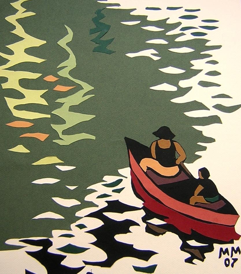 аппликации лодка море океан из цветной бумаги