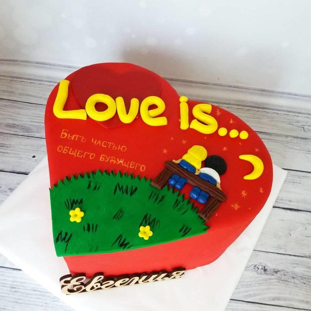 торт love is на день святого Валентина фото