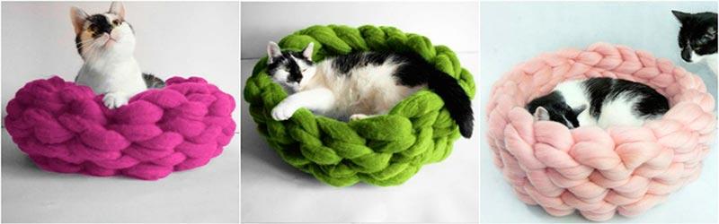 вязаное лукошко для кота кошки