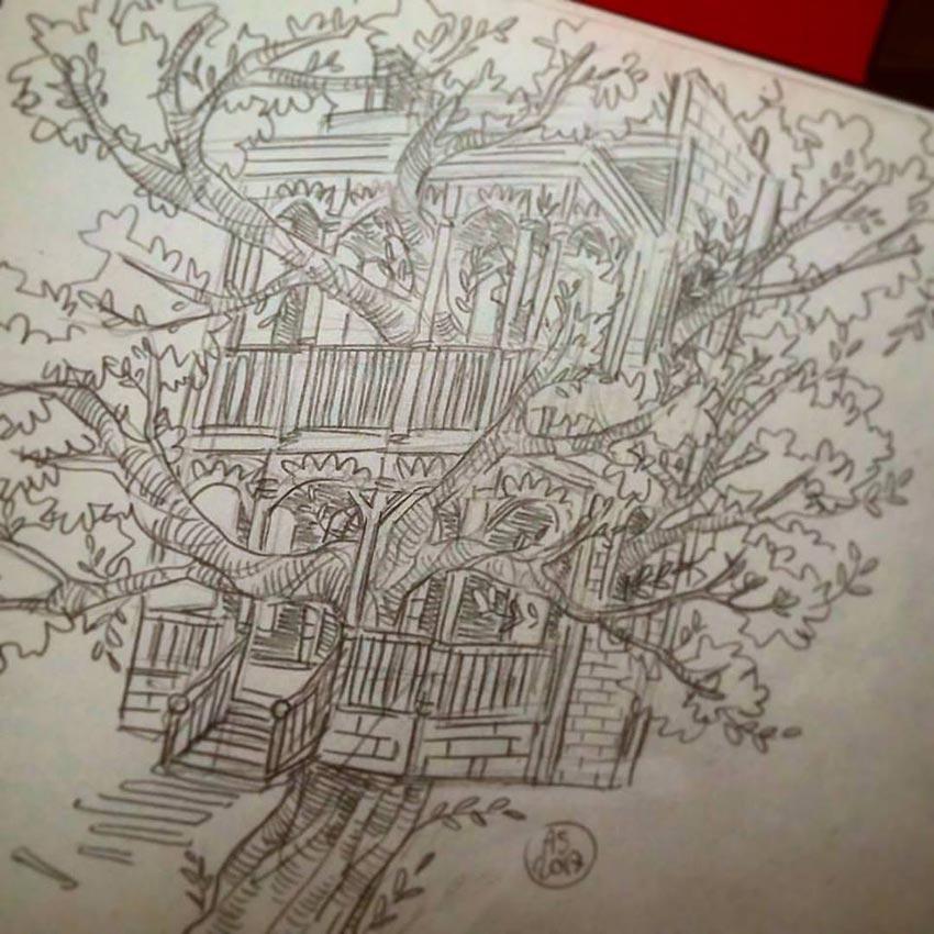 дом на дереве рисунок 1
