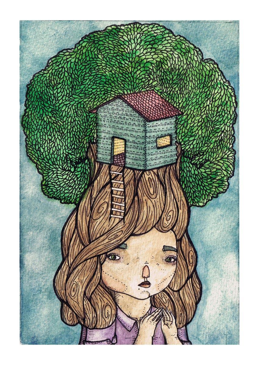 дом на дереве рисунок 2