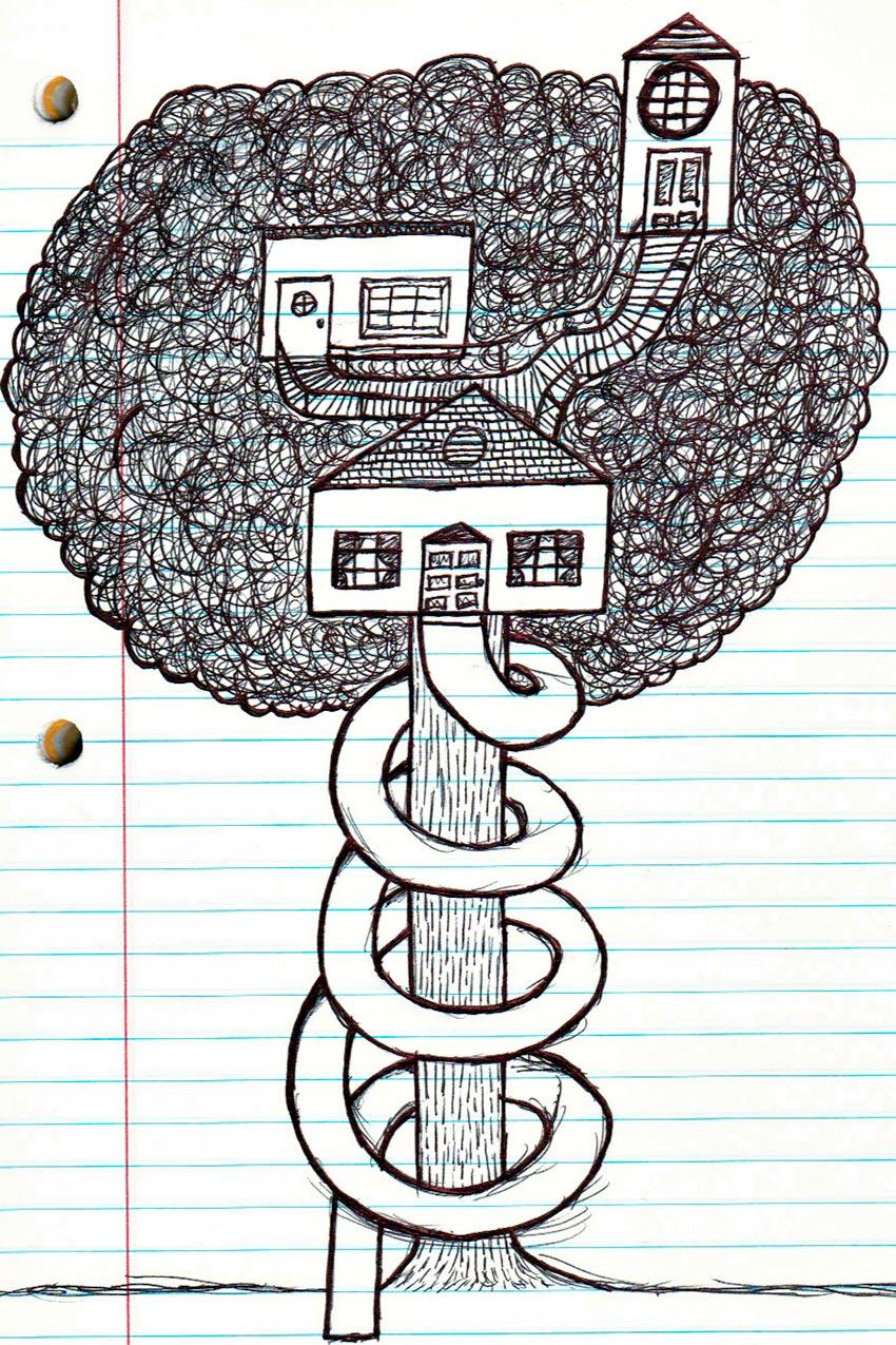 дом на дереве рисунок 3