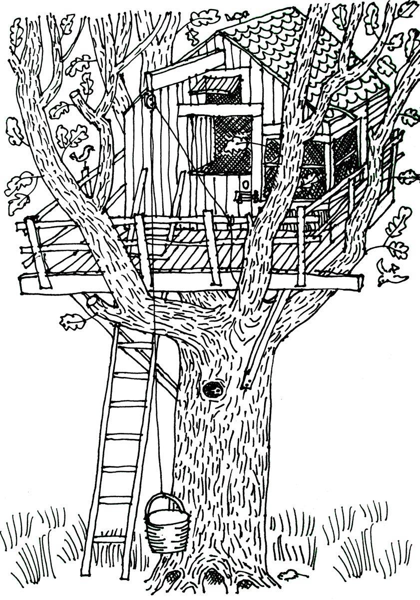 дом на дереве рисунок 4