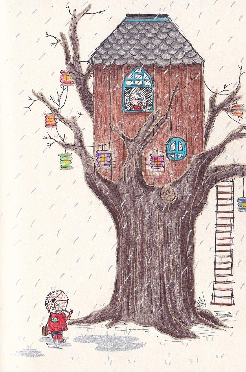 дом на дереве рисунок 5