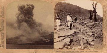 извержение мощного вулкана Мон-Пеле на Мартинике Сен-Пьер